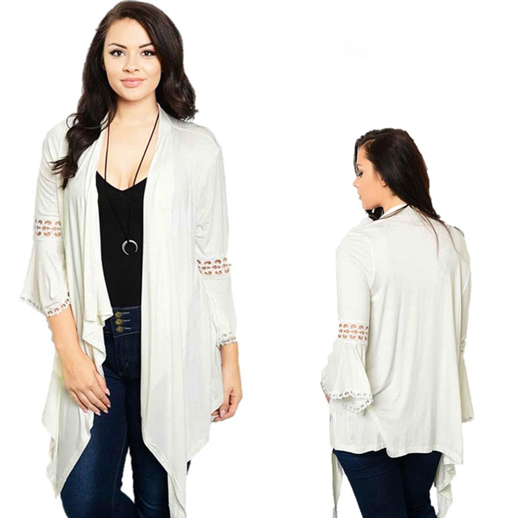 PLUS SIZE BOHO Ivory Crochet Bell Sleeve Gypsy Sweater Cardigan Top T4001X