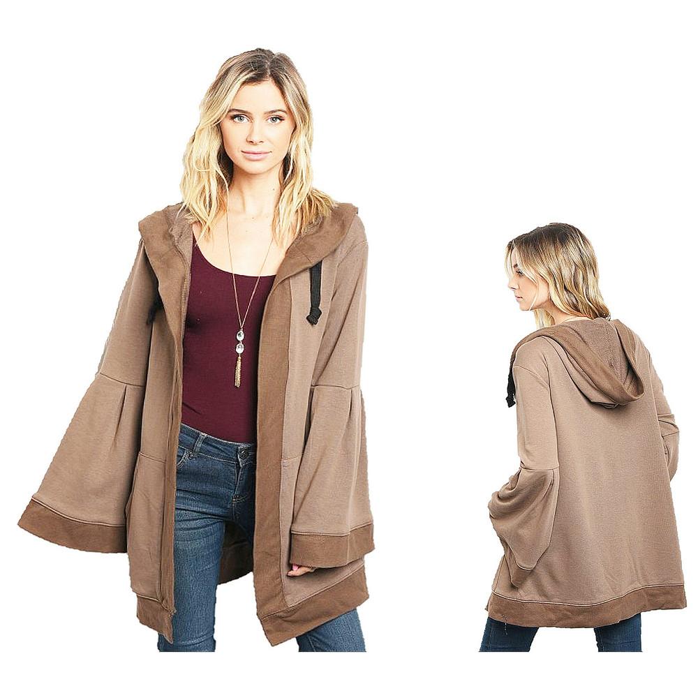 BOHO Cotton Knit Hooded Oversized Bell Sleeve Sweater Cardigan Jacket C14400