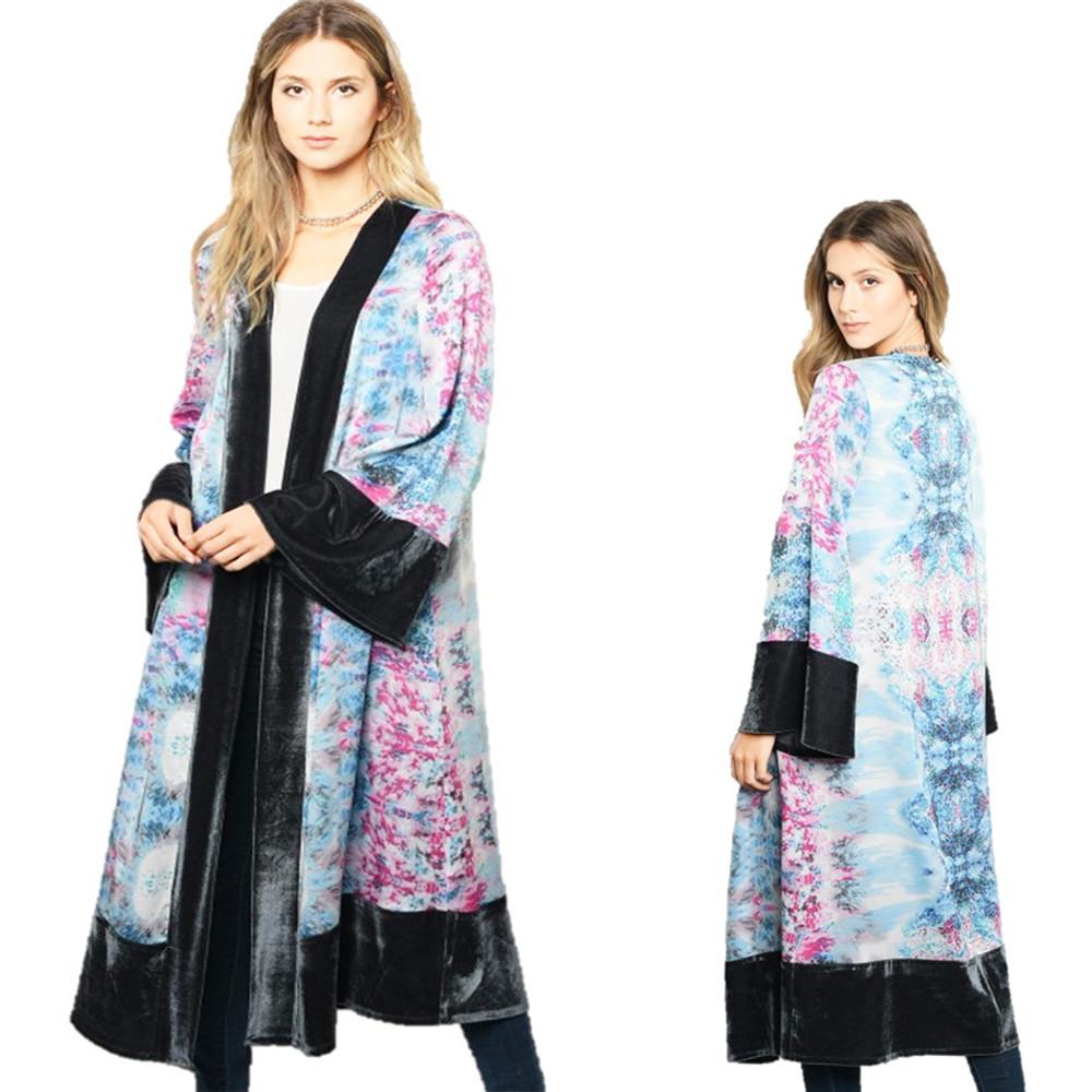 BOHO RETRO Hippie Tie Dye Bell Sleeves Silky Oversized Velvet Cardigan - C86405