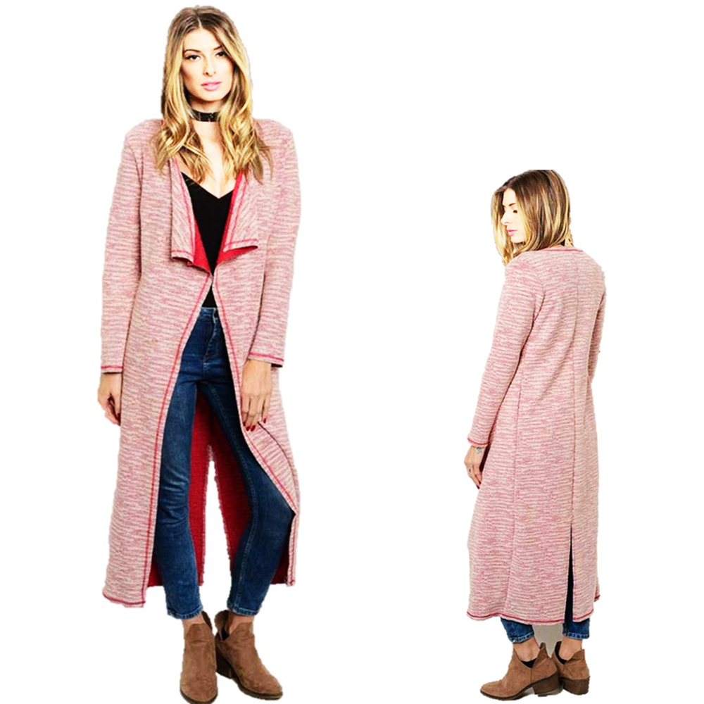 BOHO Wine Tweed Knit Draped Open Long Sweater Cardigan Jacket Coat - C7597