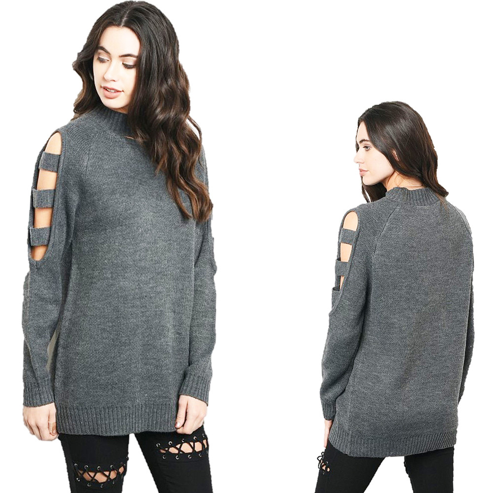 Haute BOHO Gray Gothic Oversized Cut-out Sleeve Knit Tunic Sweater Top S251121