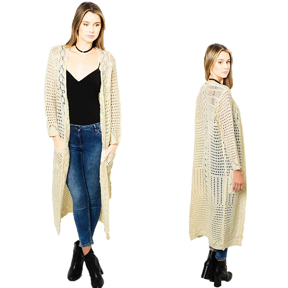 Haute BOHO Western Open Gypsy Eyelet Ivory Hippie Long Sweater Cardigan - C241