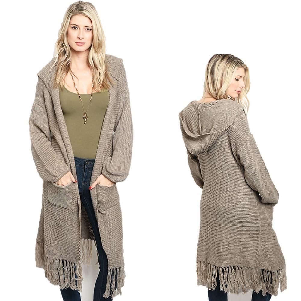 Haute BOHO Oversized Hooded Hippie Fringed Maxi Open Sweater Cardigan - C31212