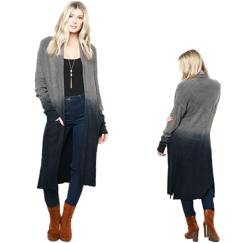 Haute BOHO Gray Oversize Maxi Duster Ombre Tie Dye Sweater Cardigan - C10212