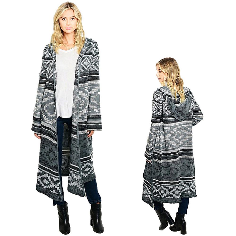 Haute BOHO Gray Knit Hippie Long Drape Open Hooded Sweater Cardigan Coat - S5818