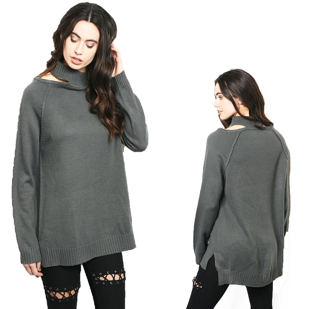 Haute BOHO Gray Gothic Oversized Ribbed Cut-out Neck Tunic Sweater Top S161121