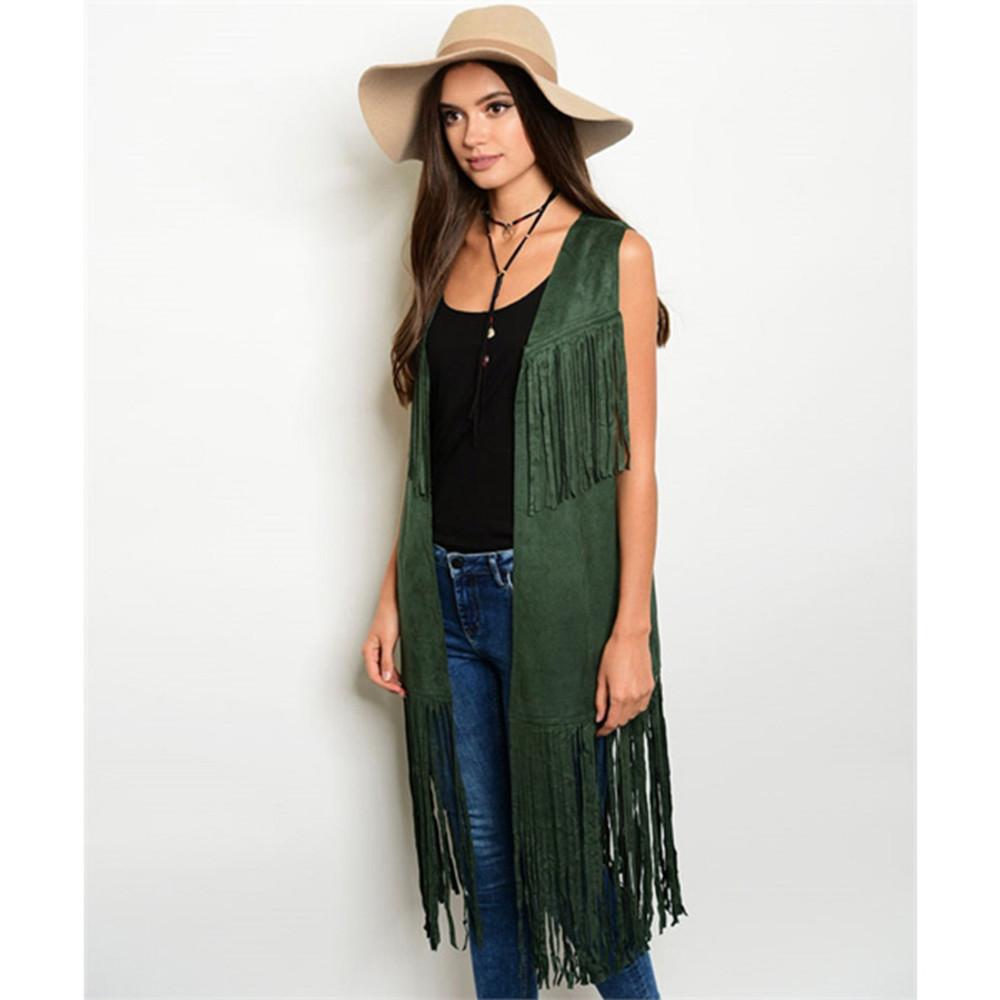 Haute BOHO Western Hippy Faux Suede Leather Fringe Long Vest Cardigan VJA27361