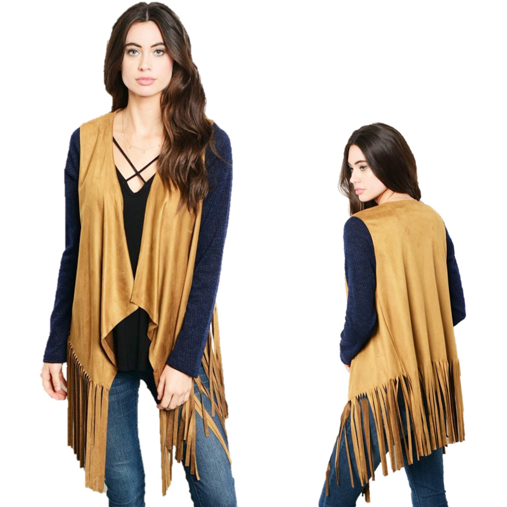 BOHO Hippie Navy Camel Faux Suede Fringed Rodeo Sweater Cardigan Top T57206S