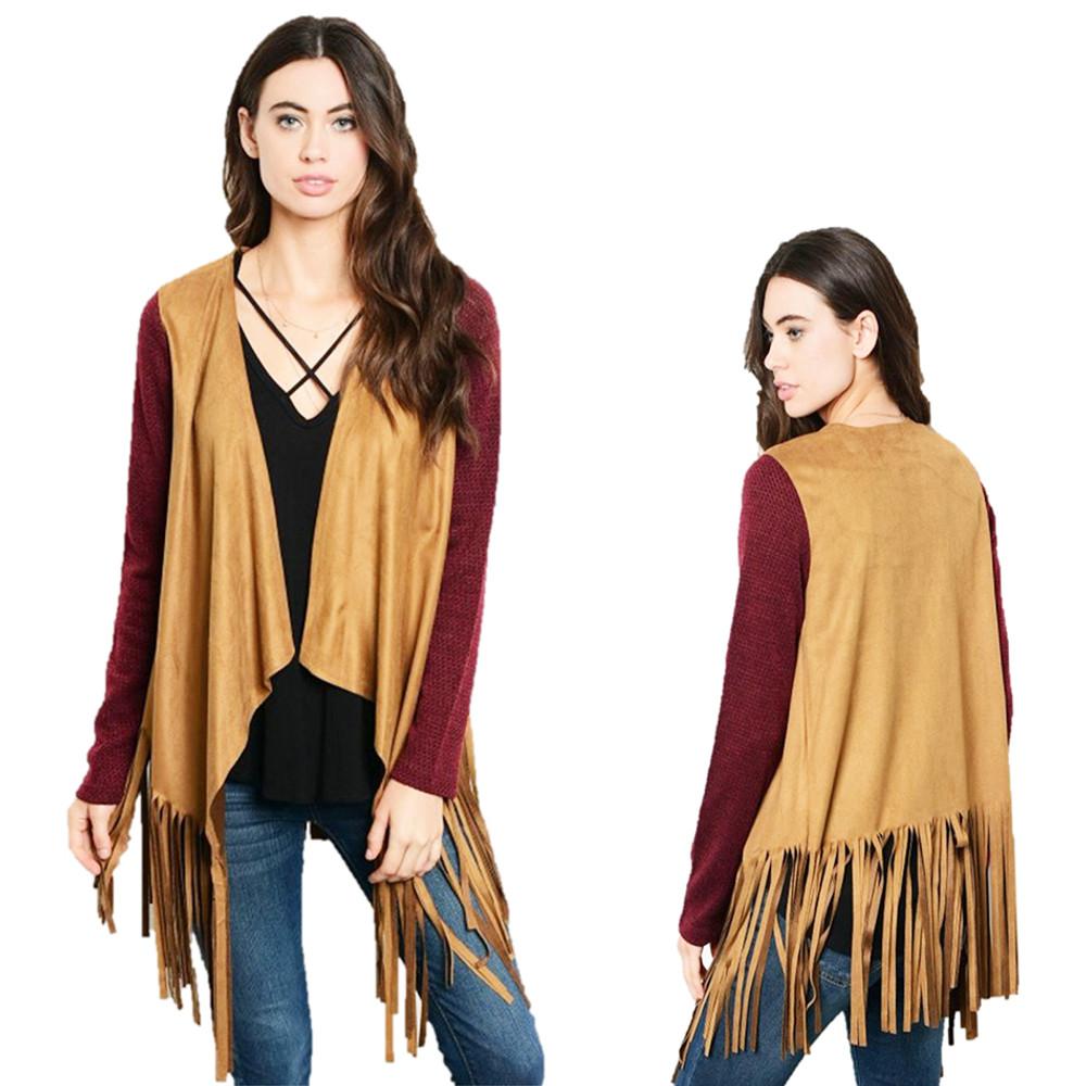 BOHO Hippy Burgundy Camel Faux Suede Fringed Drapey Sweater Cardigan - T57206S