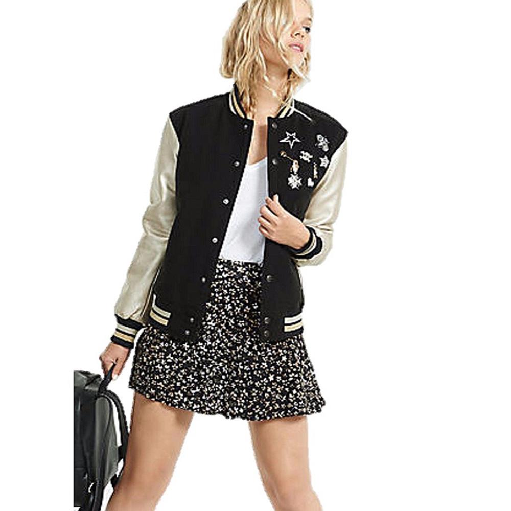 Women Crystal Jewelry Pins Sport Embellished Faux Leather Varsity Jacket - J11