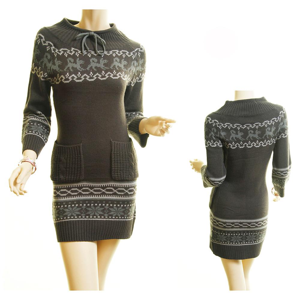 Haute BOHO Gray Knit Ribbed Hem Xmas Snowflake Sweater Mini Dress D259