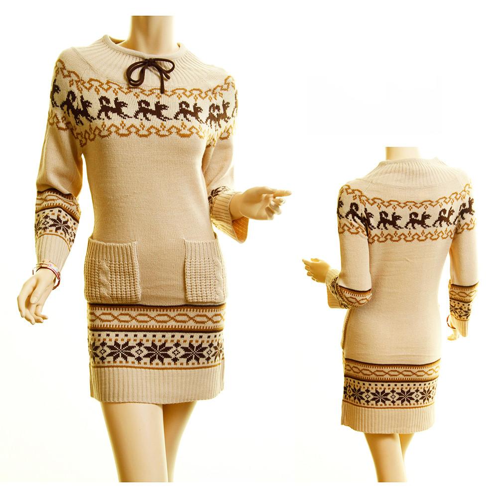 Haute BOHO Beige Knit Ribbed Hem Xmas Snowflake Sweater Dress - D259