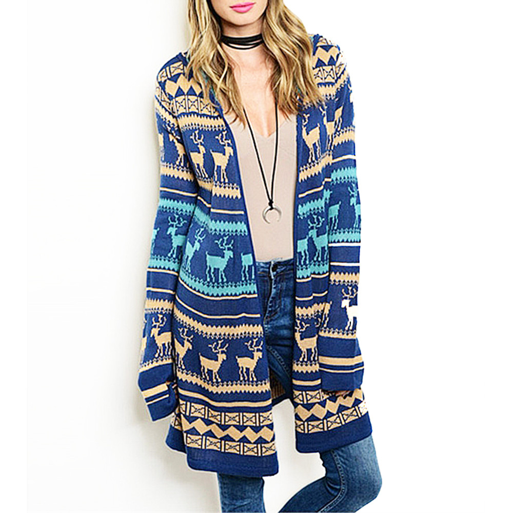 Haute BOHO Christmas Reindeer Open Front Knit Hooded Sweater Cardigan - C00721
