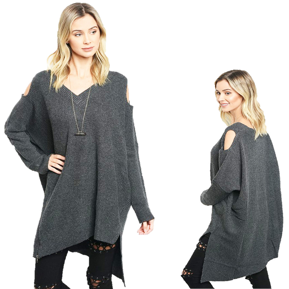 BOHO Charcoal Goth Open Shoulder Oversized CASHMERE Tunic Sweater Top - S580121