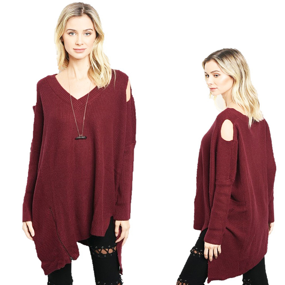 Haute BOHO Wine Goth Open Shoulder Oversized CASHMERE Tunic Sweater - S580121