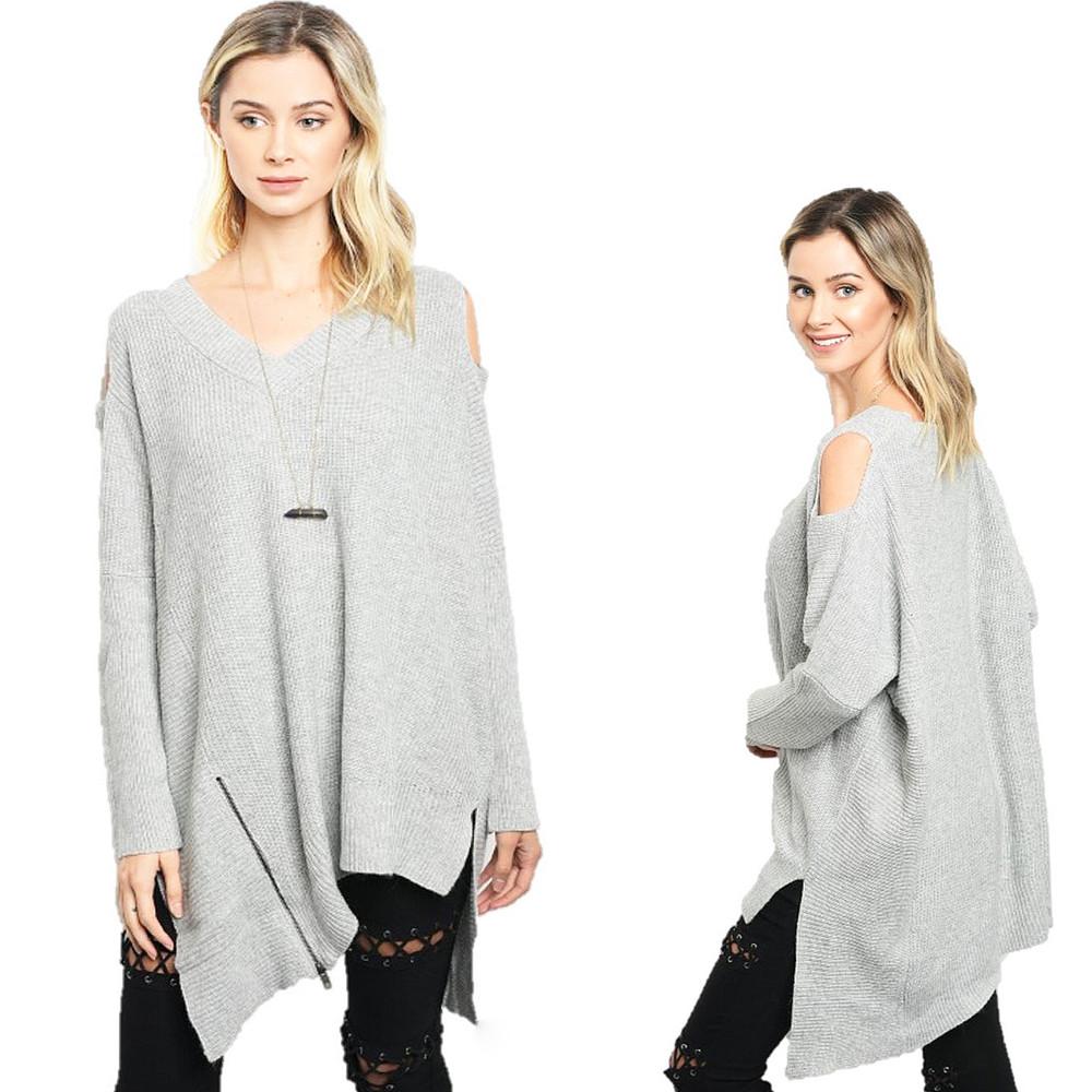 Haute BOHO Gray Angora Cashmere Knit Oversize Open Shoulder Sweater Top  S580121