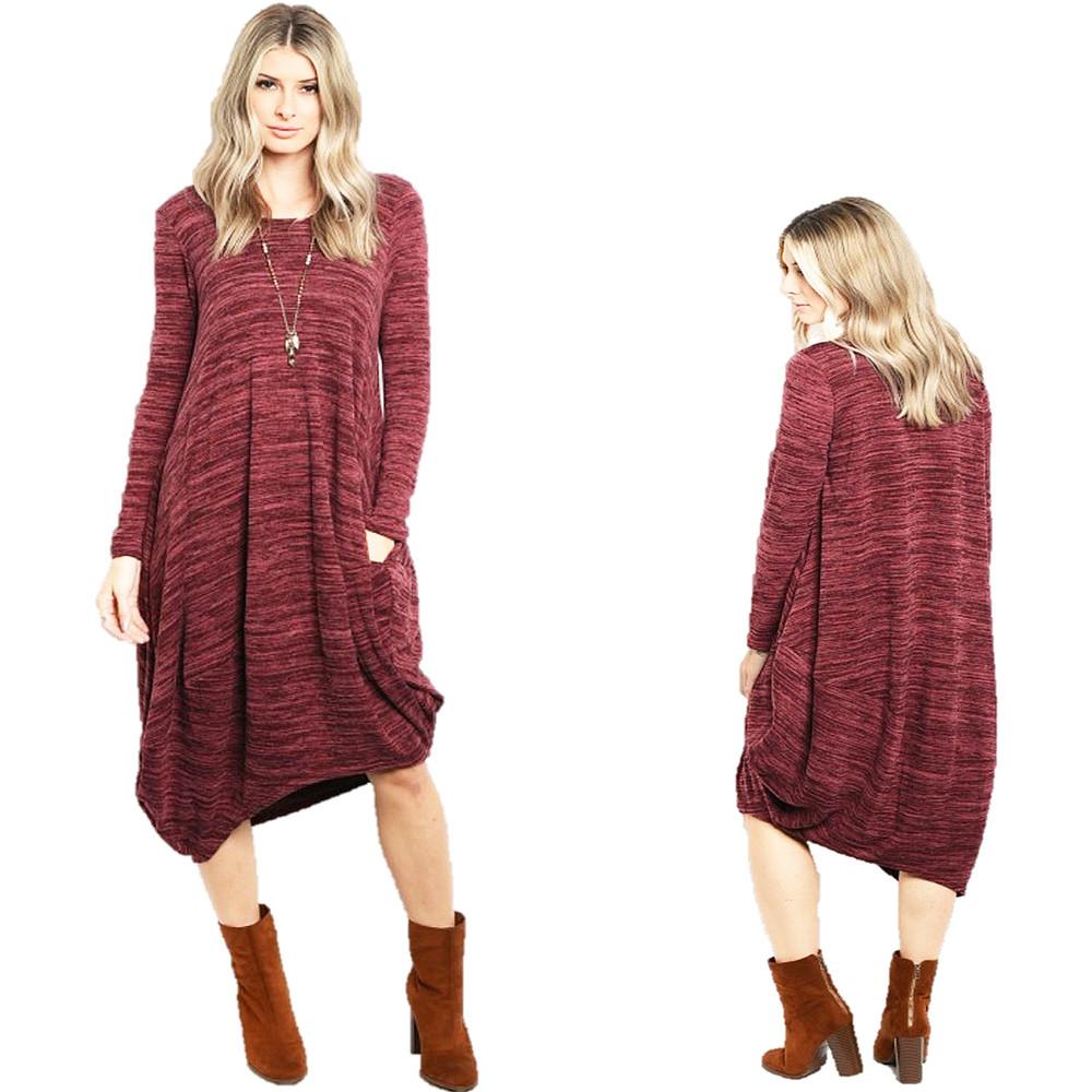 Parisian Haute  Knitted Asymmetric Hem Hippie Maxi Sweater Dress - D6303