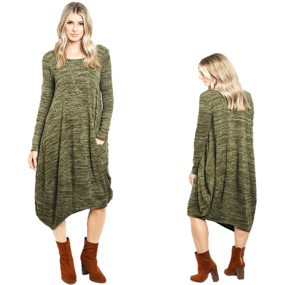 Haute BOHO Gypsy Knitted Asymmetric Hem Olive Hippie Maxi Sweater Dress D6303