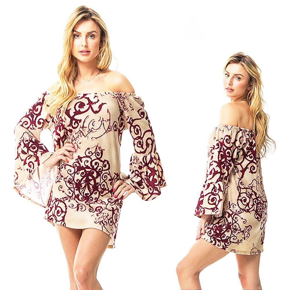 BOHO Hippie Gypsy Burgundy Scroll Bell Sleeve FLEECE Sweater Tunic Top B8321