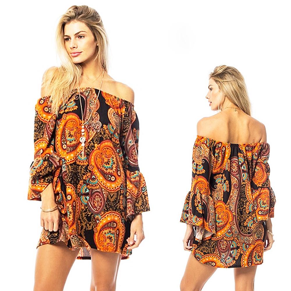 BOHO Hippie Gypsy Paisley Bell Sleeve FLEECE Haute Sweater Tunic Top - B8321