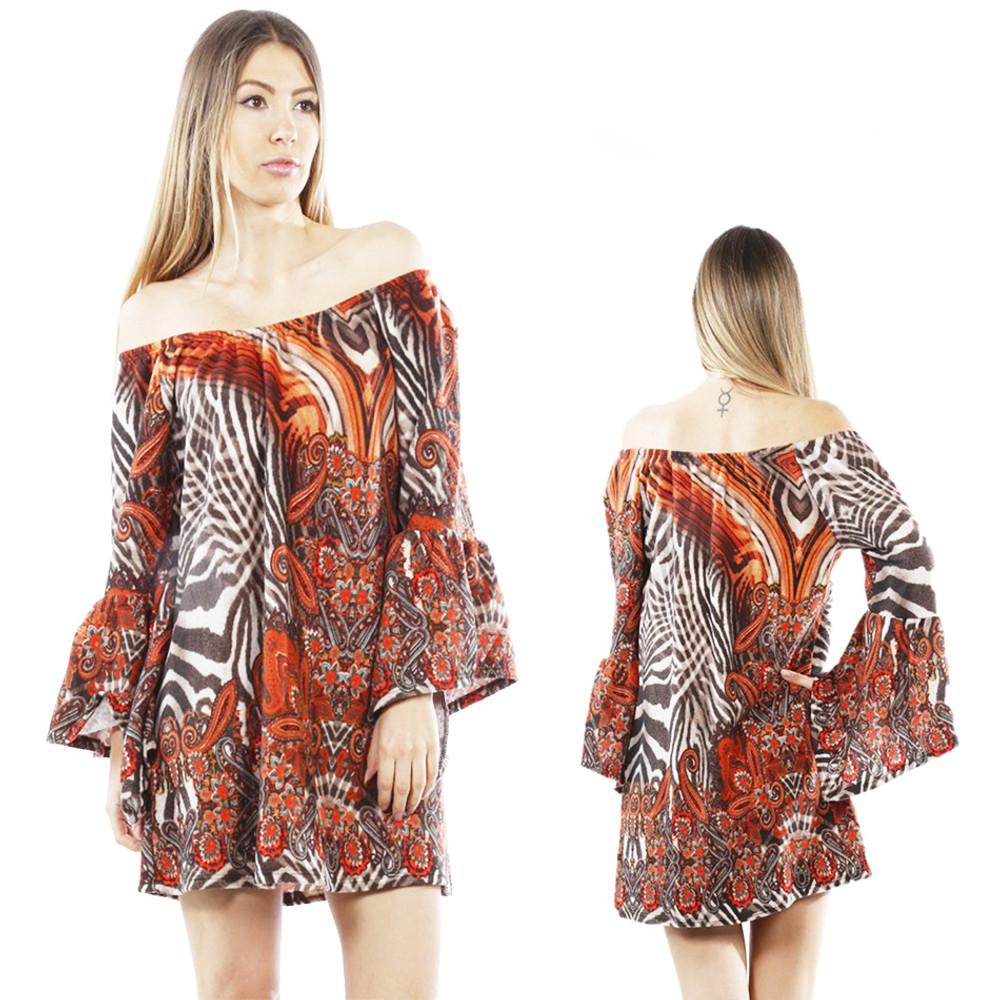 BOHO Gypsy On Off Shoulder Hippie Bell Sleeve FLEECE Sweater Tunic Top B8321