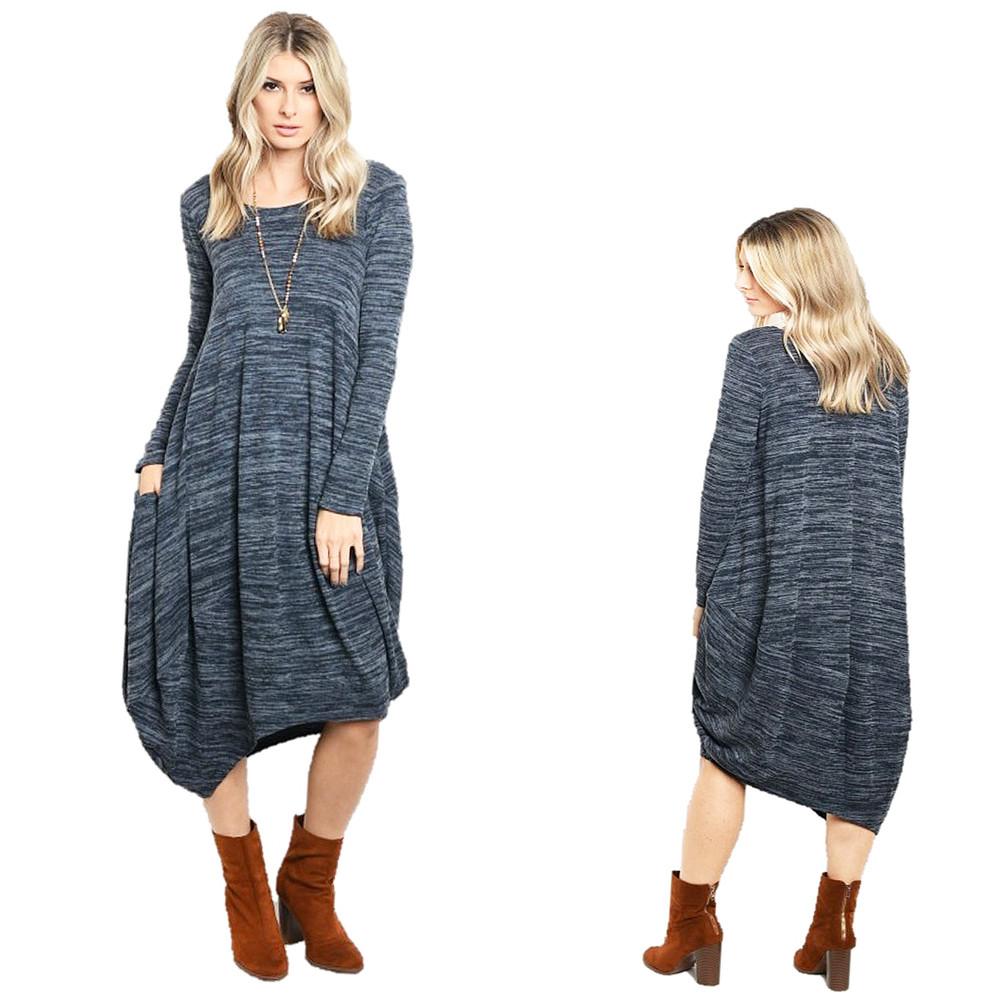 Haute BOHO Gypsy Knitted Asymmetric Hem Blue Hippie Maxi Sweater Dress D6303