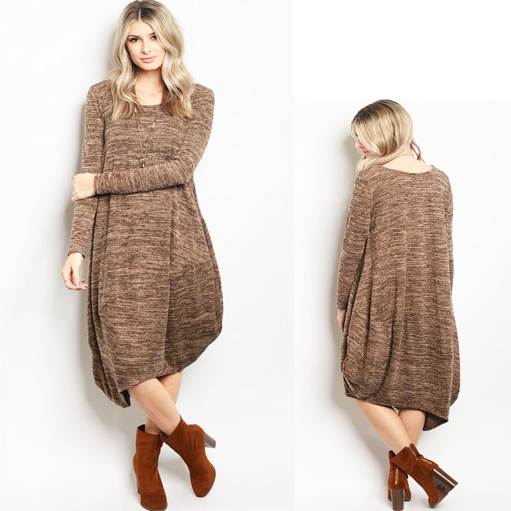 Haute BOHO Gypsy Knitted Asymmetric Hem Brown Hippie Maxi Sweater Dress D6303