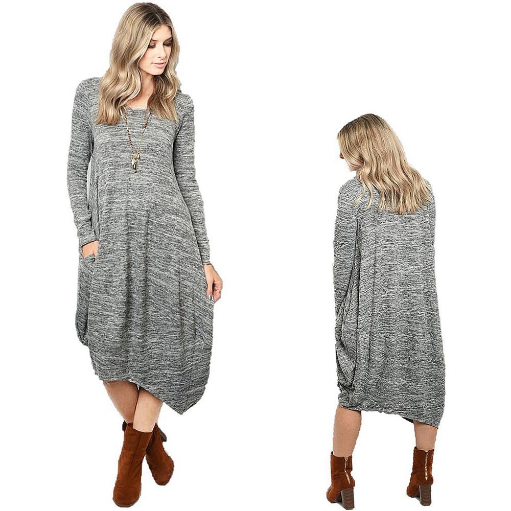 Haute BOHO Gypsy Knitted Asymmetric Hem Gray Hippie Maxi Sweater Dress - D6303