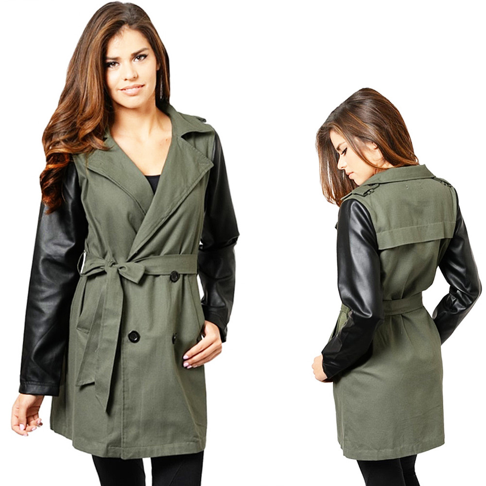 Haute BOHO Olive Faux Leather Double Breasted Jacket Safari Trench Coat - T0004