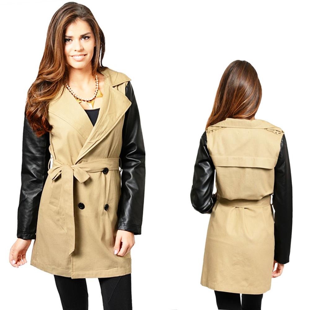Haute BOHO Khaki Faux Leather Double Breasted Jacket Safari Trench Coat - T0004