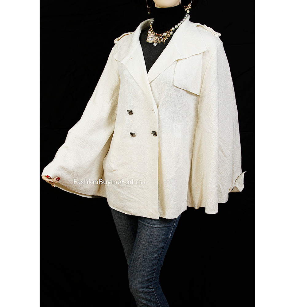 Ivory Studded Wool Poncho Cape Outerwear Sweater Jacket Coat - 863