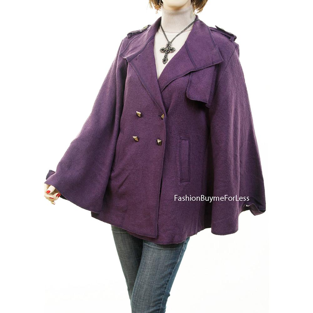 Purple Gypsy Studded Wool Poncho Cape Outerwear Sweater Jacket Coat - 863