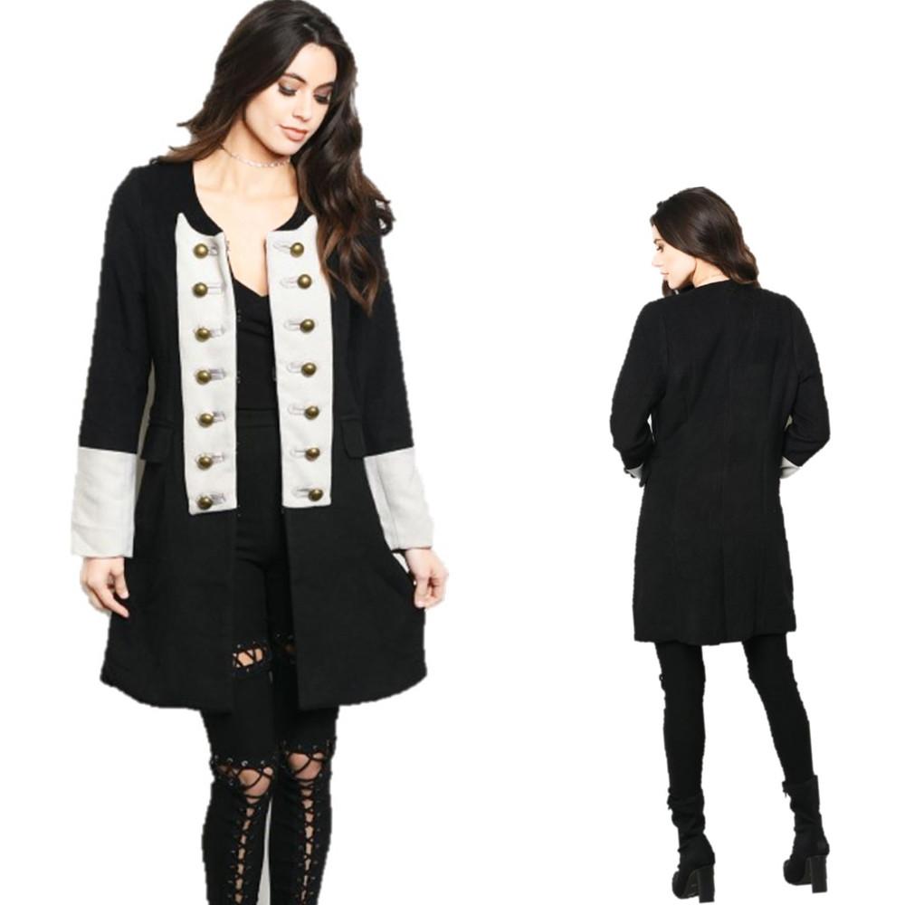 Victorian Gothic Steampunk Black Revolution Jacket Peacoat Trench coat C66008
