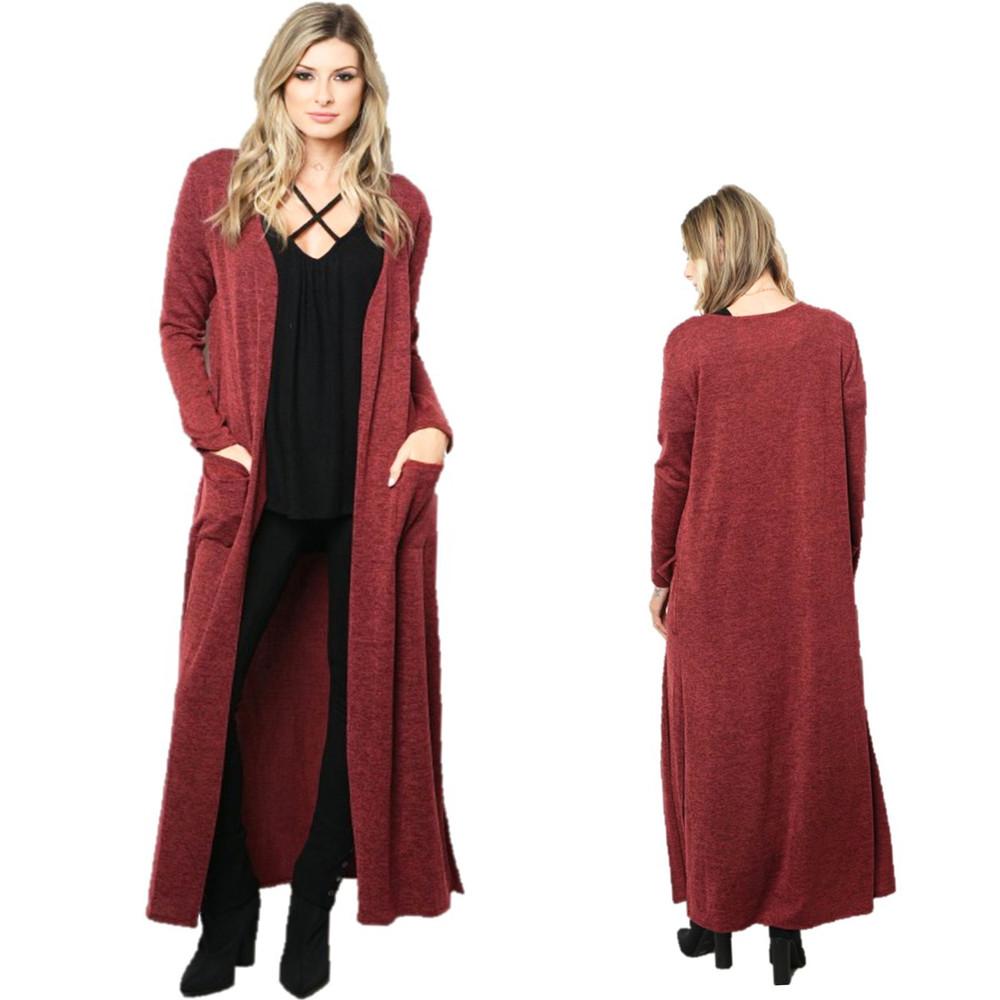 Haute BOHO Burgundy Open Front Full Length Knit Maxi Sweater Cardigan C0108