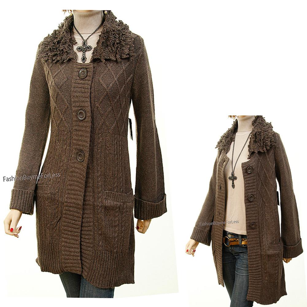 Wool blend Angora Knit Fringed Outerwear Sweater Cardigan Coat - 7401