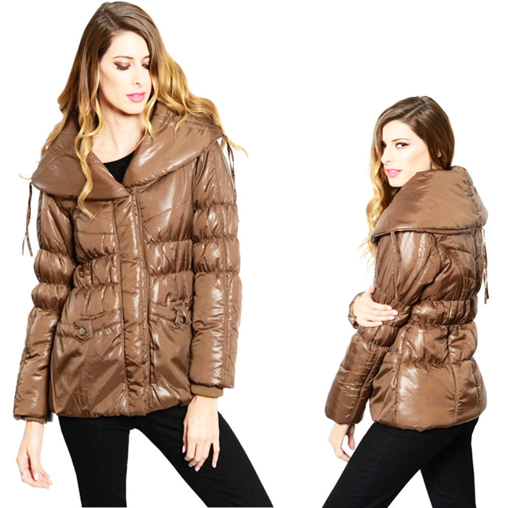 Shiny Brown Haute Wide Collar Zip Quilted Puffy Puffer Jacket Coat Outerwear B60