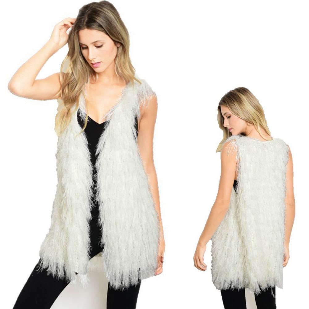 Retro Faux Lamb Fur Shearling Sherpa Shaggy Fringed Jacket Vest Coat V43061