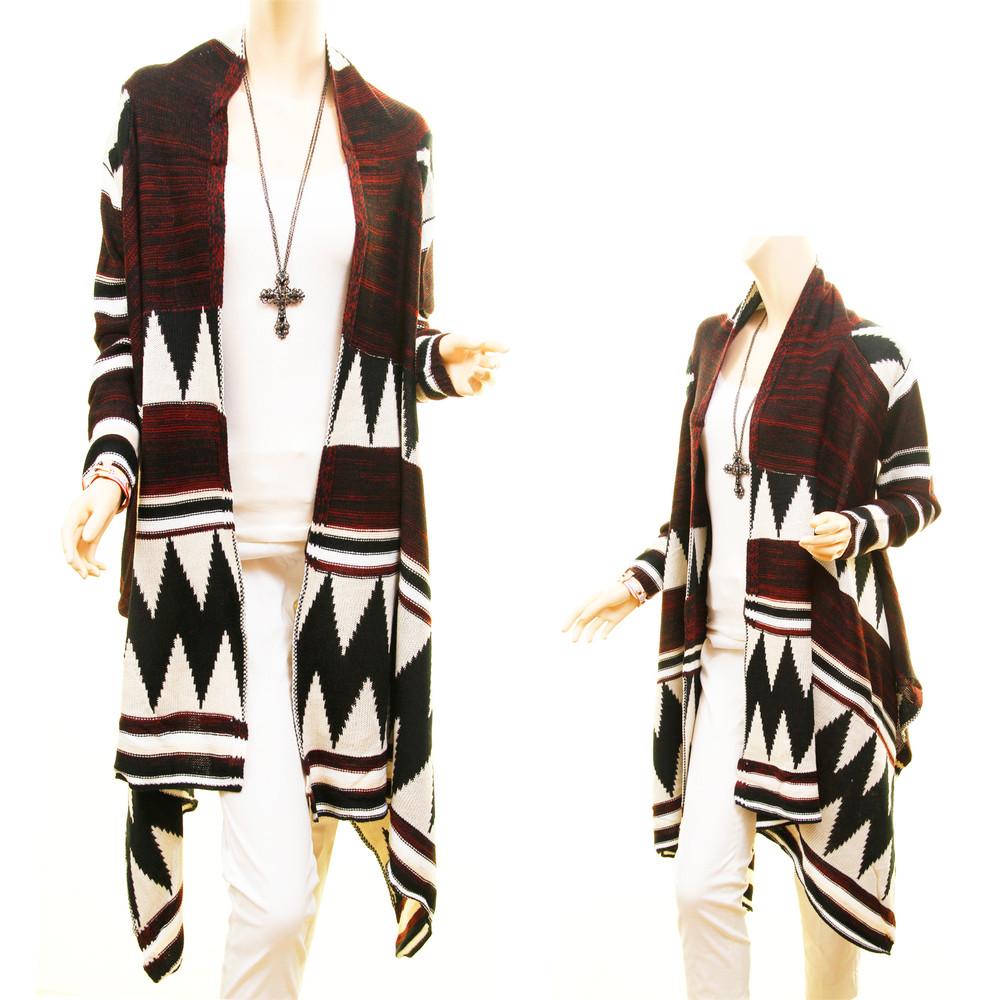 Western Cowgirl Hippie Wool Draped Open Sweater Cardigan Duster Coatigan - D9211