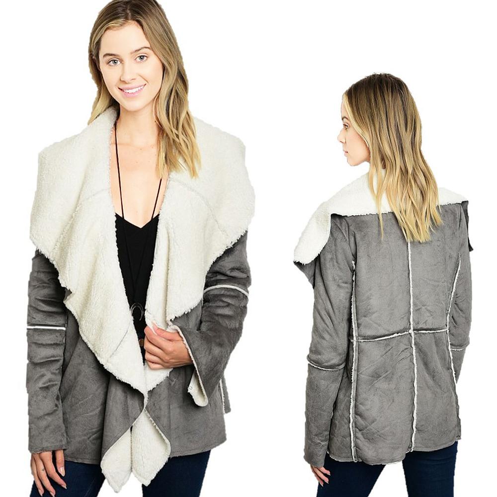 BOHO Hippie Gray Faux Suede Lamb Shearling Sherpa Haute Jacket Coat J5052