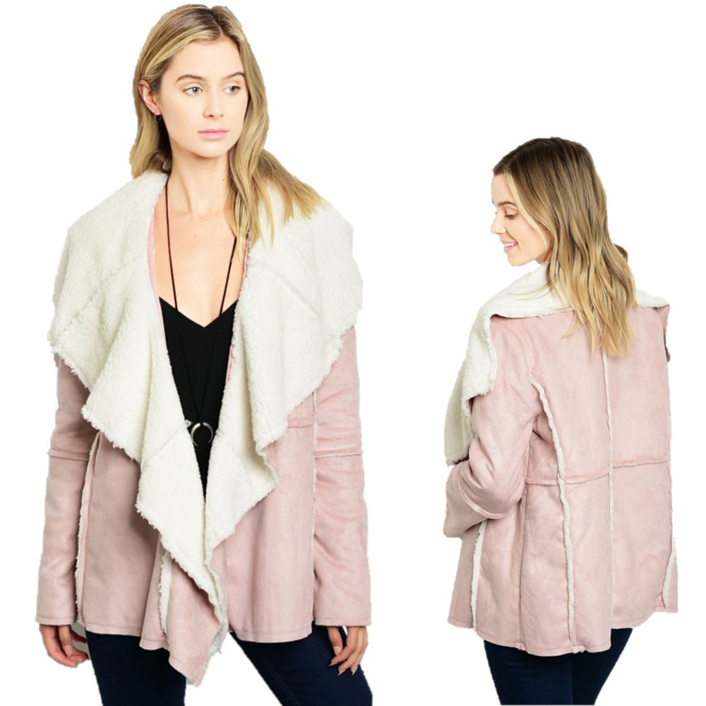 Stylish Pink Faux Suede Lamb Shearling Sherpa Jacket - J5052