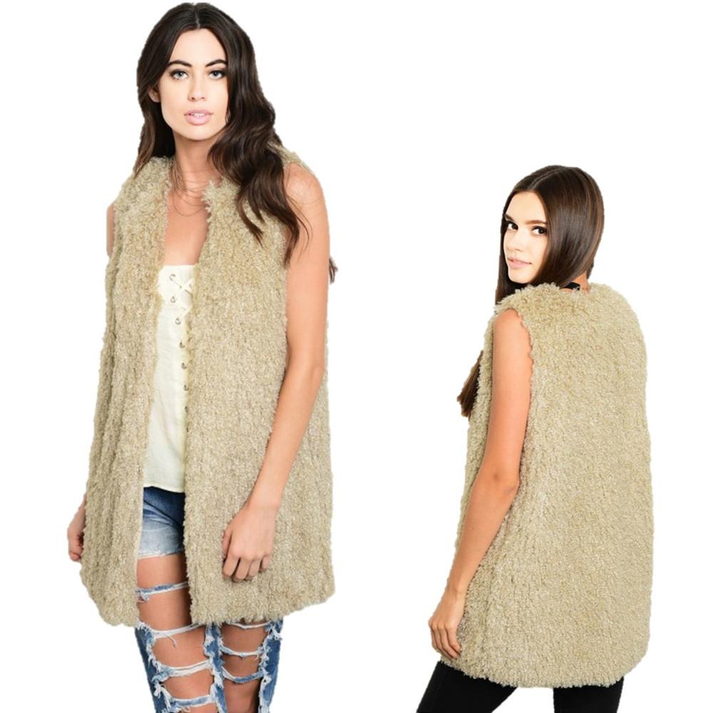 BOHO Hippie Faux Lamb Shearling Sherpa Long Jacket Coat Vest V340121A