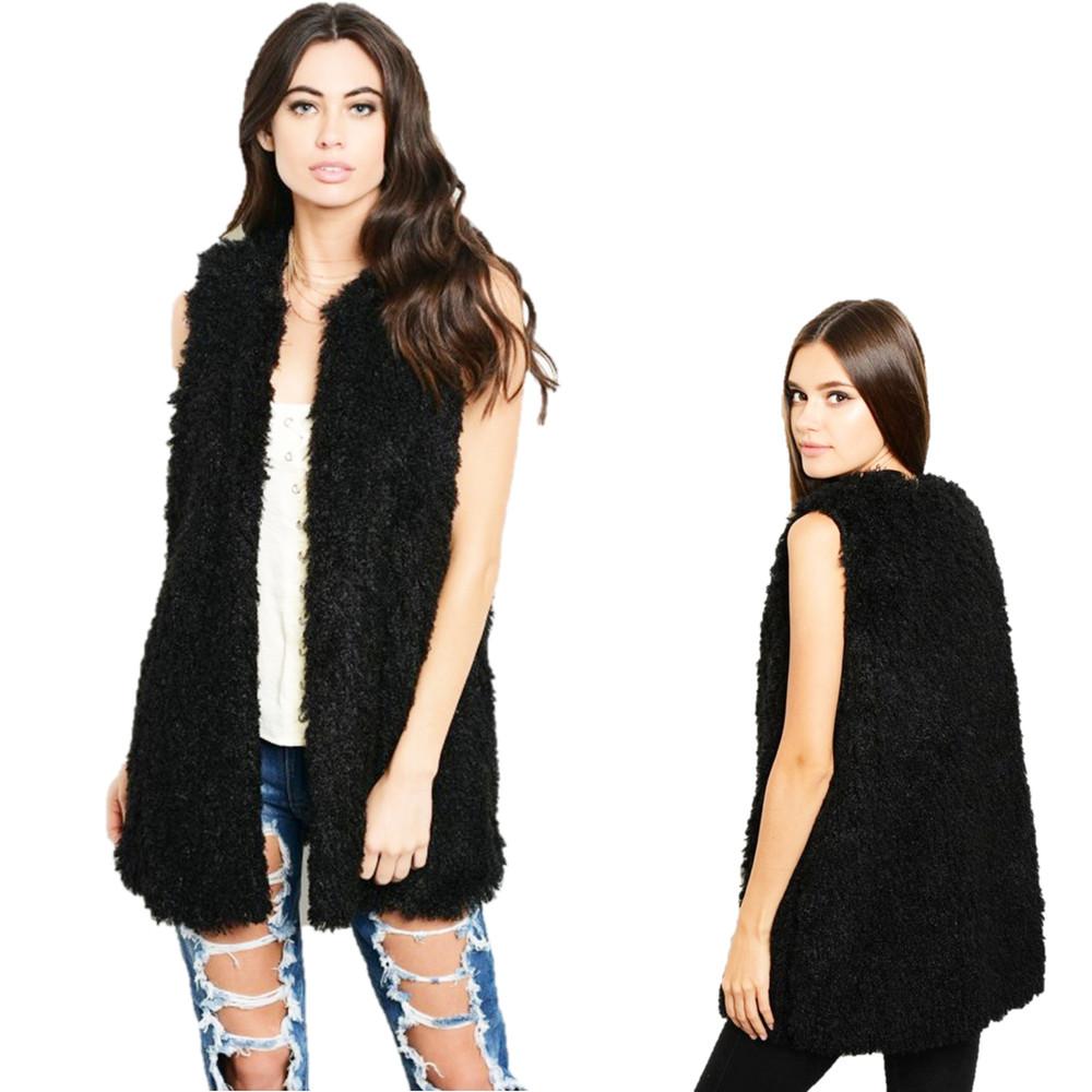 Black Faux Lamb Shearling Sherpa Long Jacket Vest - V34012A