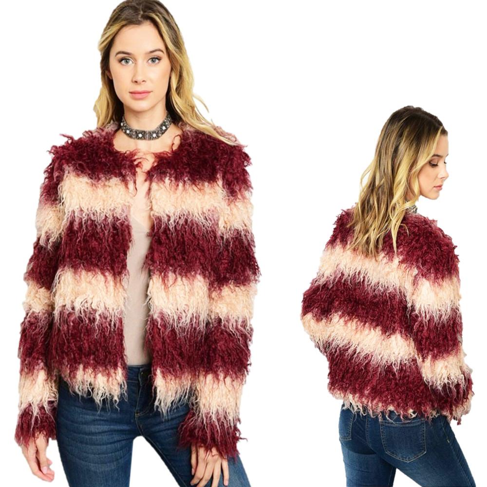 BOHO Hippie Burgundy Faux Fur Wool Blend Haute Shaggy Fringed Coat Jacket J01300