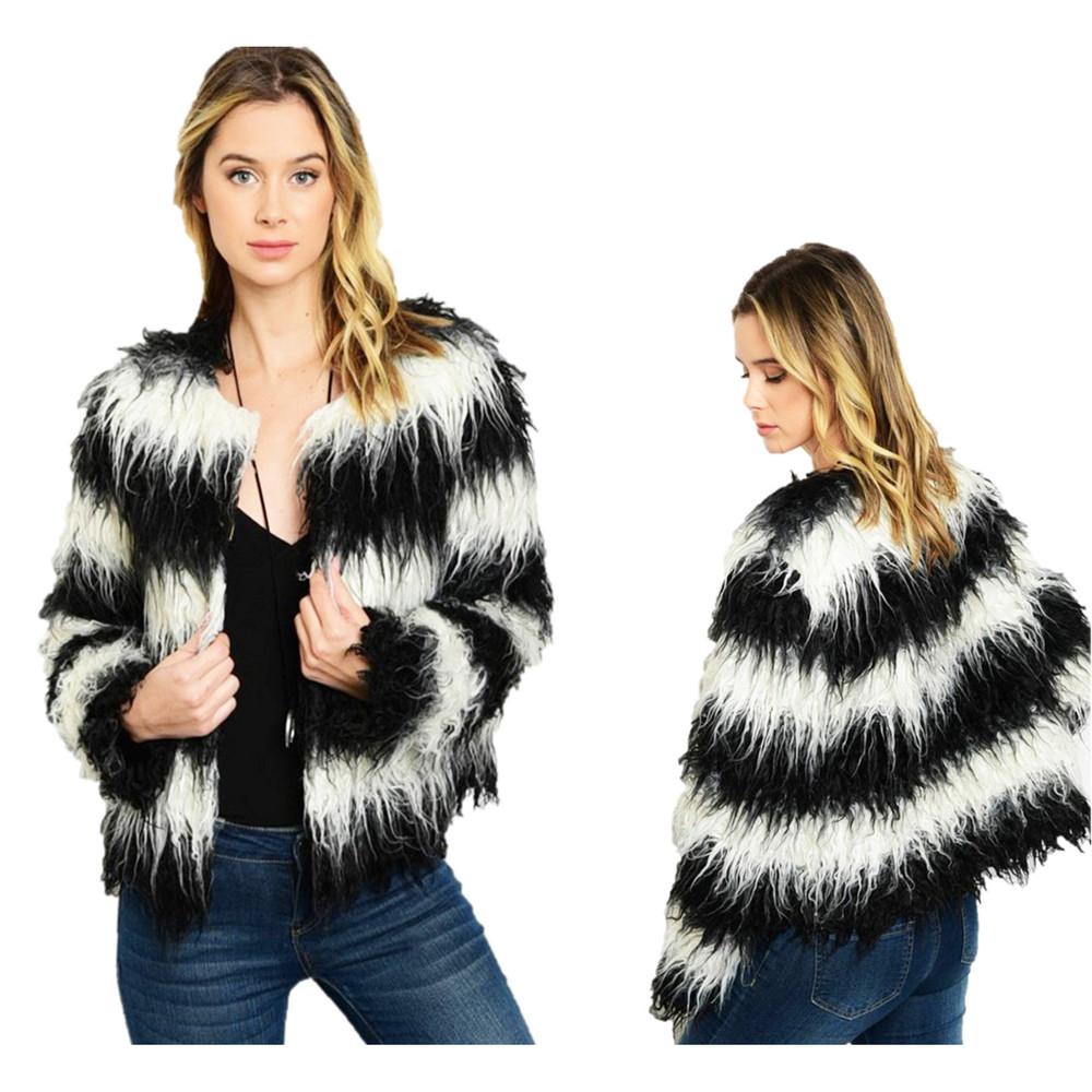 BOHO Hippy Black Faux Fur Wool Blend Shaggy Fringed Moto Coat Jacket J01300