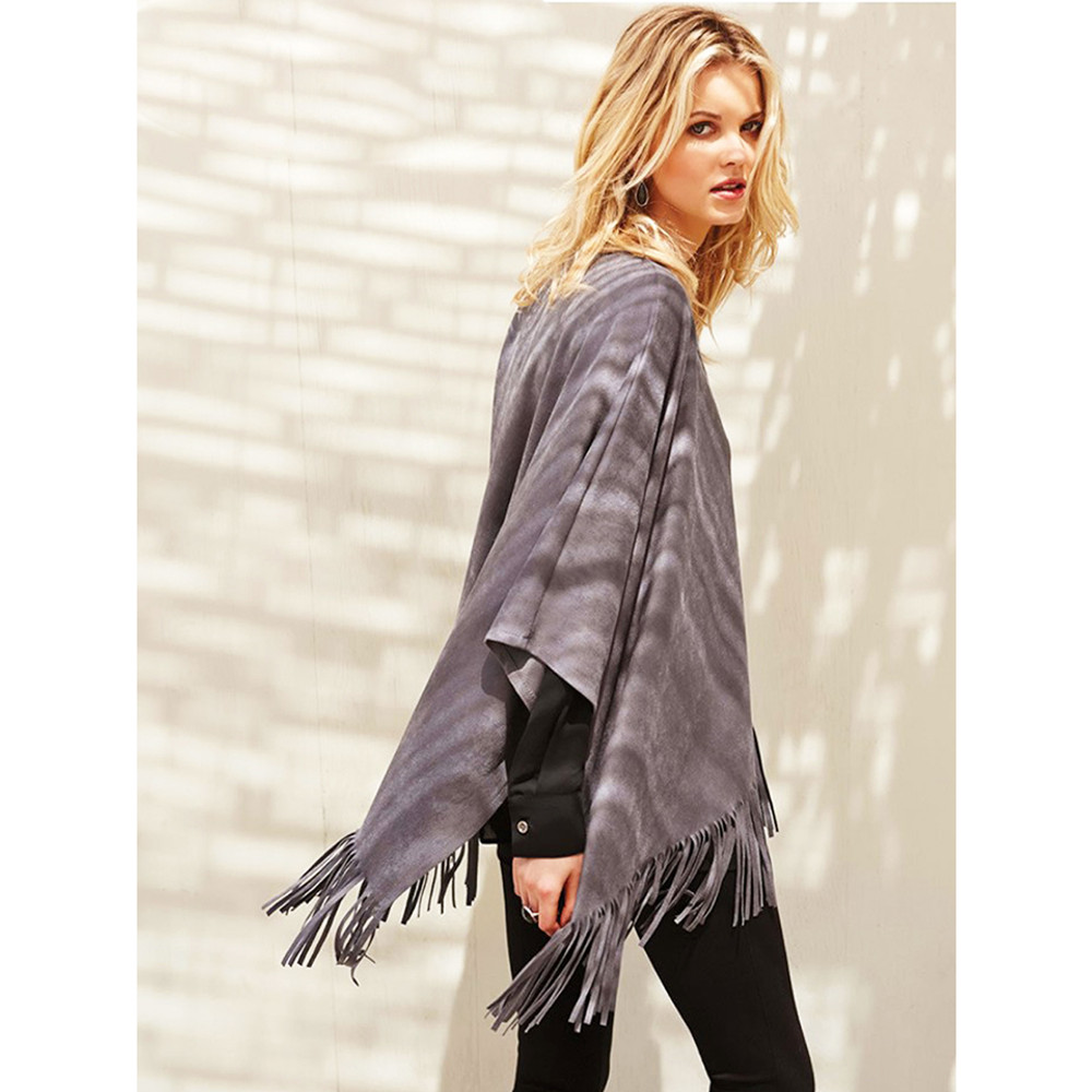 70s Hippy Gypsy Western Haute Gray Faux Suede Fringe Poncho Sweater Top T6401