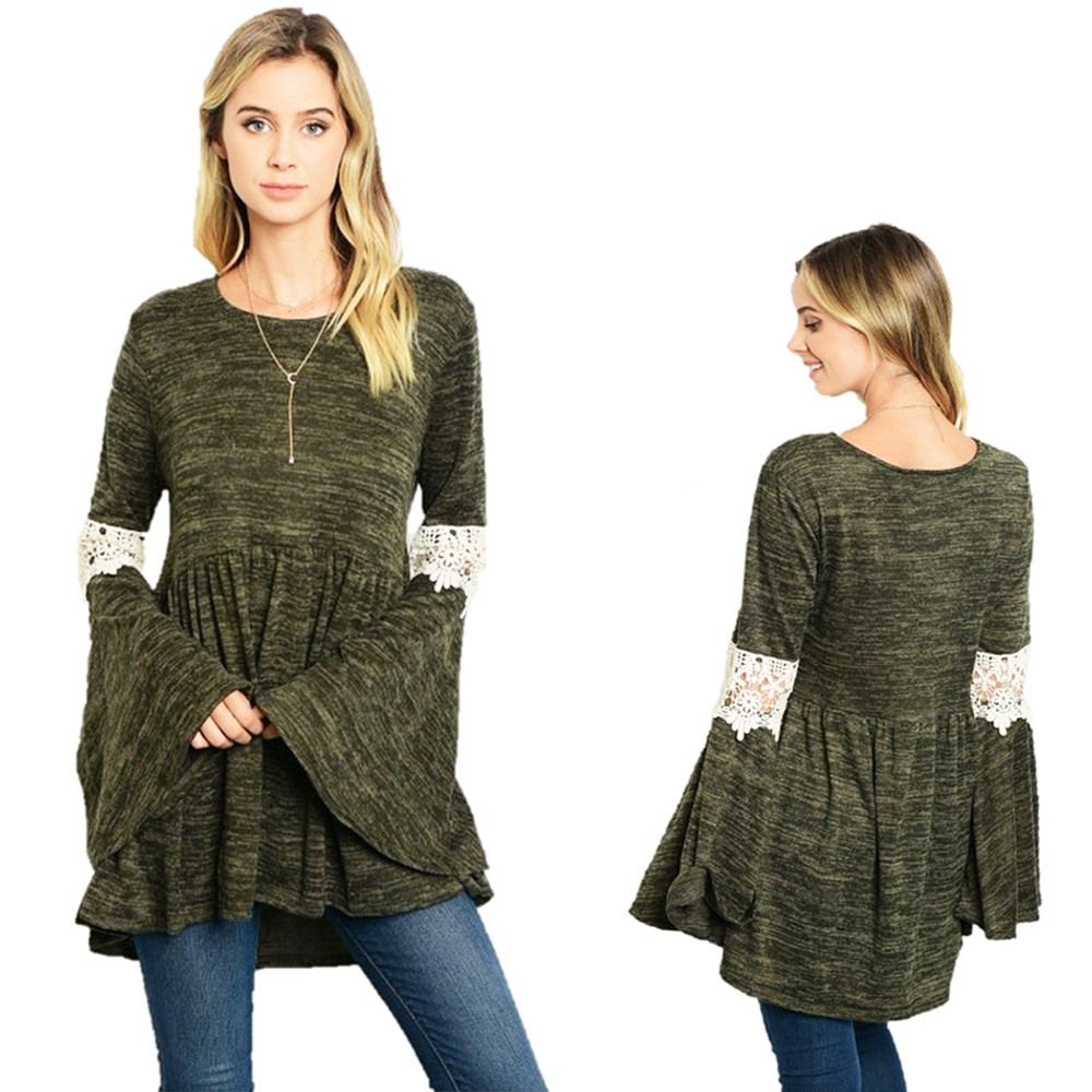 Crochet Flare Bell Sleeve Swing Babydoll Tunic Sweater Top - T0701