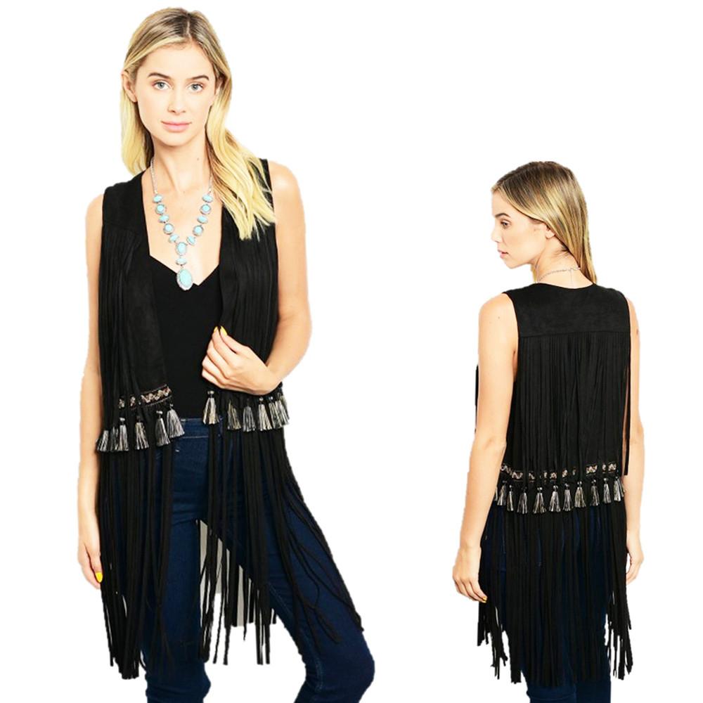70'S BOHO Hippie Western Black Faux Suede Tassel Fringed Cardigan Vest - B99200