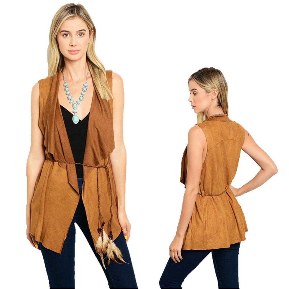 70'S BOHO Hippie Gypsy Western Camel Open Front Faux Suede Cardigan Vest B12300