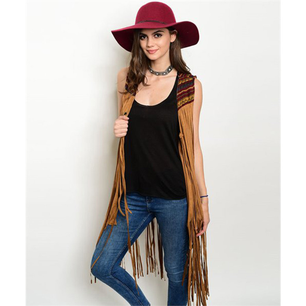 Idyllwind Western Hippie Camel Faux Suede Fringed Rodeo Cardigan Vest - J00300