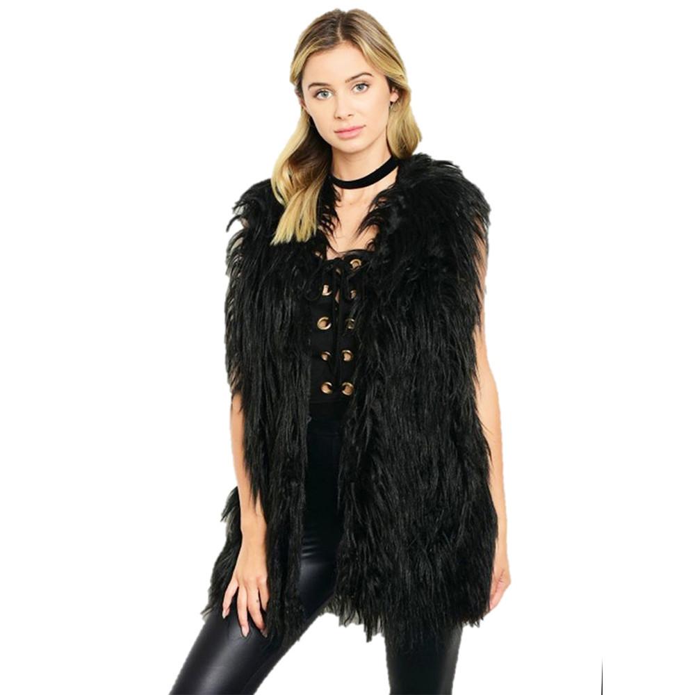 Paris Faux Wool Shearling Lamb Fur Shaggy Vest  - V736